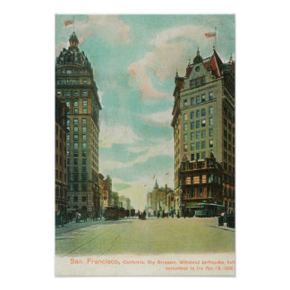View of Skyscrapers that Survived 1906 Poster