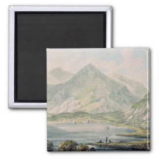 View of Snowdon 2 Inch Square Magnet