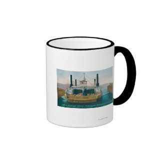 View of SP Ferry Boat Solano in Dock Ringer Coffee Mug