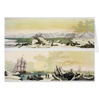 View of Spitsbergen with 'The Dorothea' (colour en Card