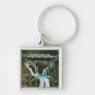 View of Split Rock Falls and Bridge Silver-Colored Square Keychain