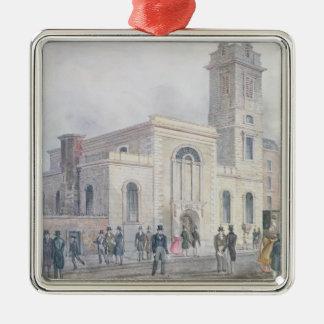 View of St. Bartholomew's Church Square Metal Christmas Ornament