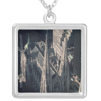 View of St. Patrick's Cathedral Square Pendant Necklace