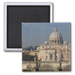 View of St Peter's with the Ponte sant' Angelo 2 Inch Square Magnet