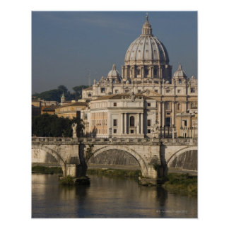 View of St Peter's with the Ponte sant' Angelo Poster
