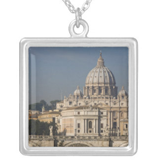 View of St Peter's with the Ponte sant' Angelo Square Pendant Necklace