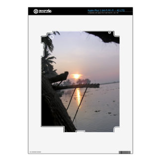 View of sunrise from a houseboat window iPad 3 skins