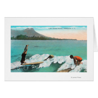 View of Surfers Board Riding, One Taking a Greeting Card