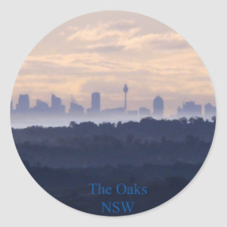 View of Sydney from The oaks NSW Round Sticker