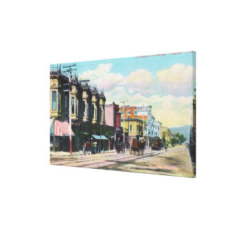 View of Telegraph Ave with Horse Carts Canvas Print