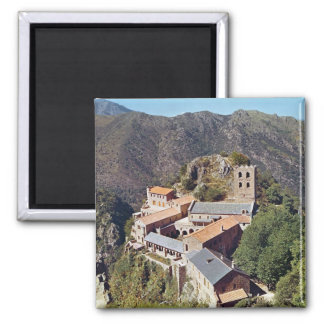 View of the Abbey of St. Martin du Canigou 2 Inch Square Magnet