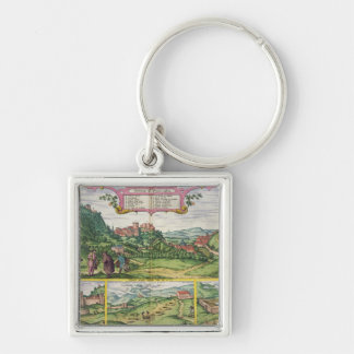 View of the Alhambra, from 'Civitates Orbis Terrar Silver-Colored Square Keychain