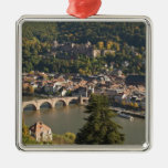 View of the Alte Brucke or Old Bridge Square Metal Christmas Ornament