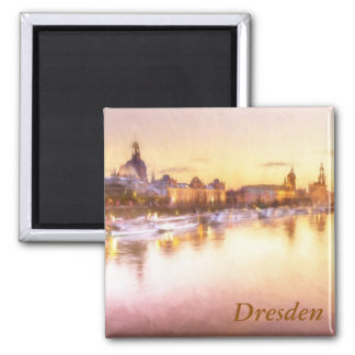 View of the Altstadt over the Elbe in Dresden 2 Inch Square Magnet