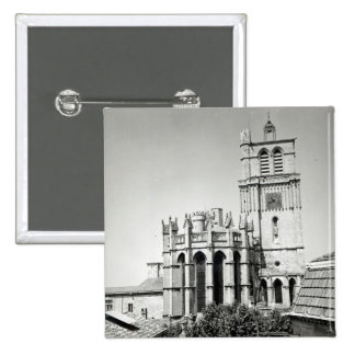 View of the apse and the tower, built pinback button
