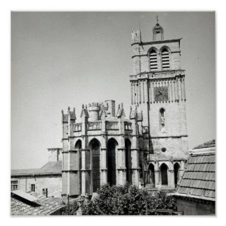View of the apse and the tower, built poster
