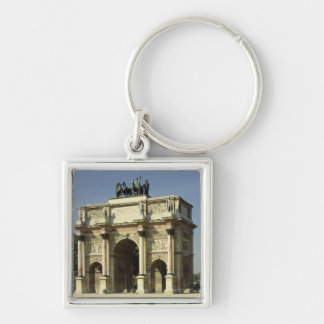 View of the Arc de Triomphe du Carrousel Silver-Colored Square Keychain
