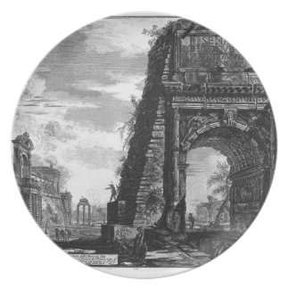 View of the Arch of Titus by Giovanni Battista Melamine Plate