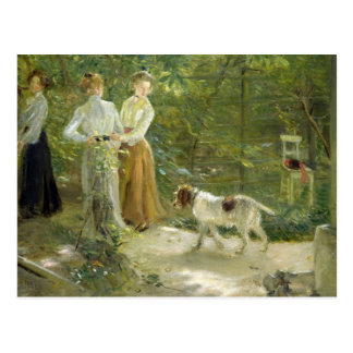View of the artist's garden with his daughters postcard