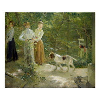 View of the artist's garden with his daughters poster