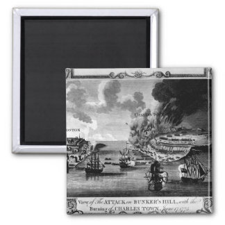 View of The Attack on Bunker's Hill_War Image 2 Inch Square Magnet