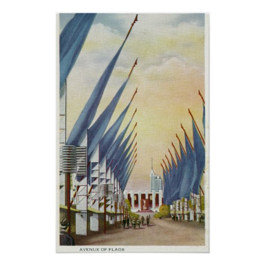 View of the Avenue of Flags, 1934 World's Fair Poster