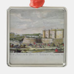 View of the Bastille and the Porte Saint-Antoine Square Metal Christmas Ornament