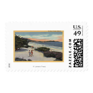View of the Beach, Sunbathers Walking Postage