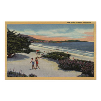 View of the Beach, Sunbathers Walking Print