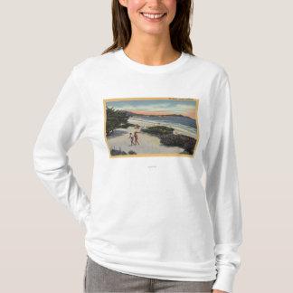 View of the Beach, Sunbathers Walking T-Shirt