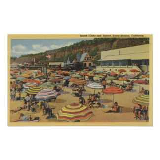View of the Beach with Clubs and Homes Poster