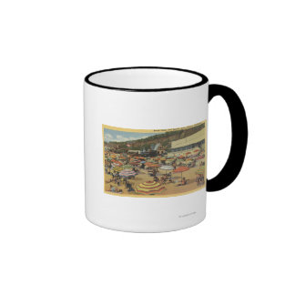 View of the Beach with Clubs and Homes Ringer Mug