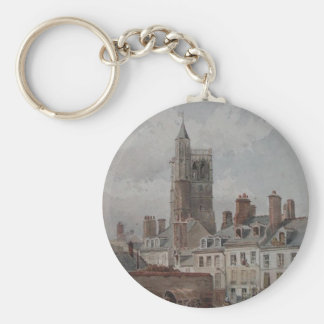 View of the belfry of Orleans by Theodore Rousseau Keychain