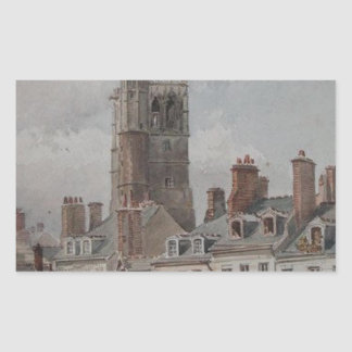 View of the belfry of Orleans by Theodore Rousseau Rectangular Sticker