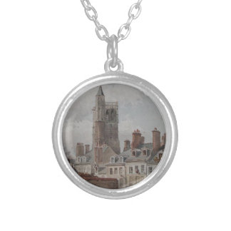 View of the belfry of Orleans by Theodore Rousseau Round Pendant Necklace