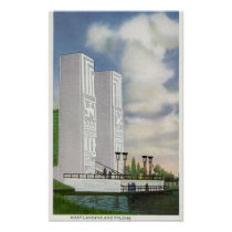 View of the Boat Landing and Pylons Poster