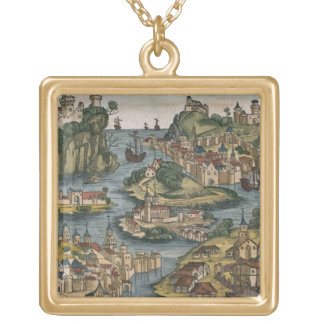 View of the Bosporus entering from the Black Sea, Gold Plated Necklace