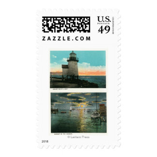 View of the Brant Point Lighthouse Postage Stamp