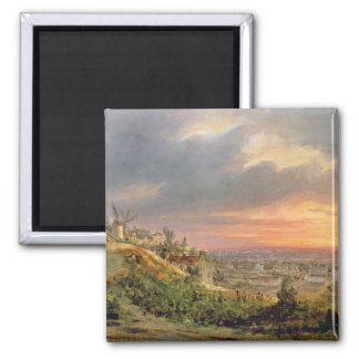View of the Butte Montmartre, c.1830 2 Inch Square Magnet