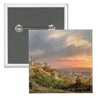 View of the Butte Montmartre, c.1830 Pinback Button