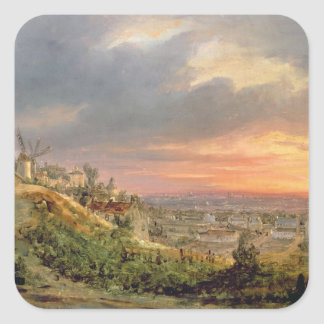 View of the Butte Montmartre, c.1830 Square Sticker