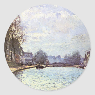 View of the Canal Saint Martin by Alfred Sisley Classic Round Sticker