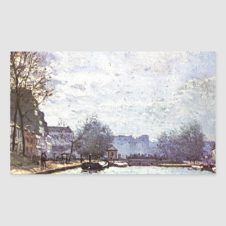 View of the Canal Saint Martin by Alfred Sisley Rectangular Sticker