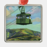 View of the Cannon Mt Tram Ascending Square Metal Christmas Ornament