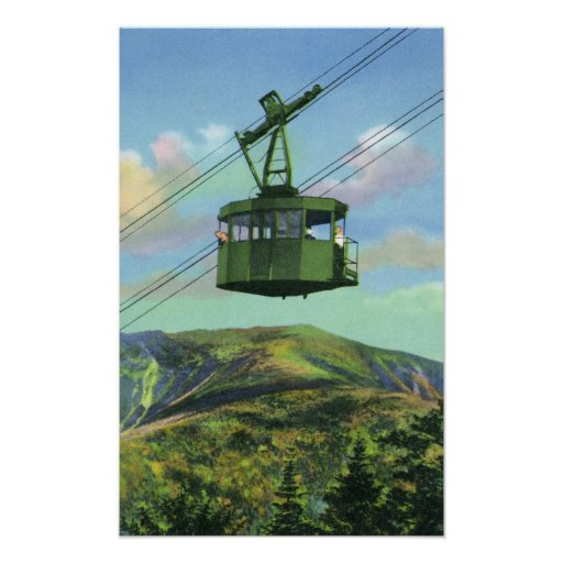 View of the Cannon Mt Tram Ascending Poster