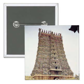 View of the carved exterior of the south gopuram button