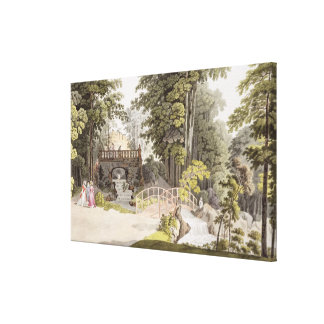 View of the cascade at Erlaw, Vienna, from 'Pleasu Canvas Print