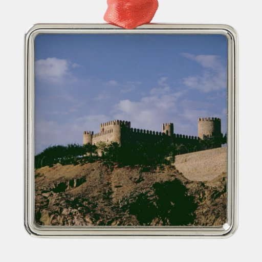 View of the castle square metal christmas ornament
