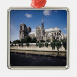 View of the Cathedral from the Seine, 1163-1345 Square Metal Christmas Ornament