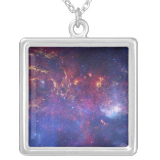 View of the Center of the Milky Way Galaxy Square Pendant Necklace